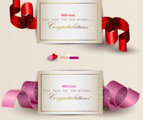 Heart and ribbons Valentine cards vector set 03