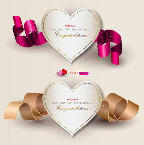 Heart and ribbons Valentine cards vector set 04