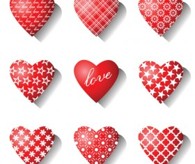 Different Heart icons design vector set 01