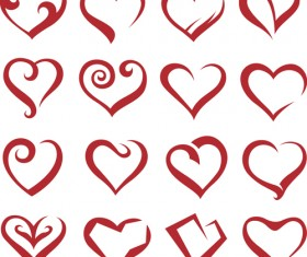 Different Heart icons design vector set 04
