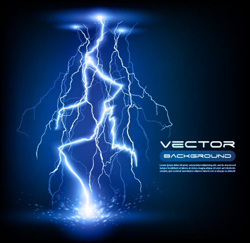 Set of Lightning flash elements background vector 01
