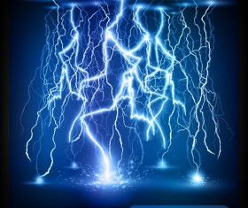 Set of Lightning flash elements background vector 02