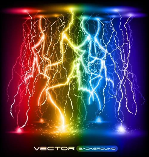 Set of Lightning flash elements background vector 05