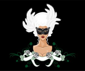 Mask with Masquerade design vector 02