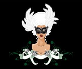 Mask with Masquerade design vector 02