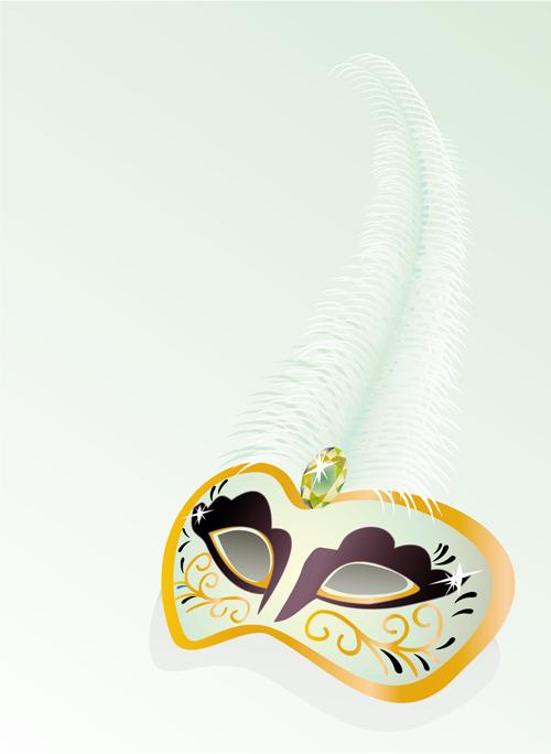 Mask with Masquerade design vector 04