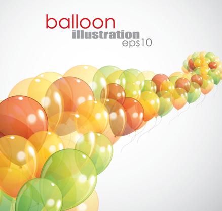 Multicolored balloon background design vector 04