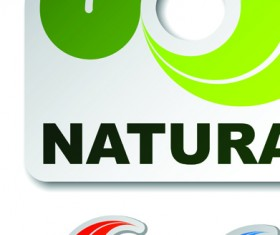 Set of Natural elements stickers vector graphic 02