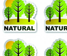 Set of Natural elements stickers vector graphic 05