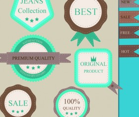 Set of guaranty quality and Premium labels vector 01