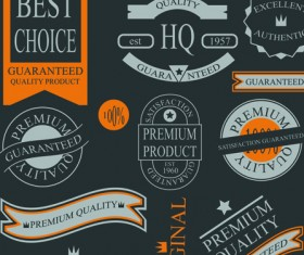 Set of guaranty quality and Premium labels vector 02
