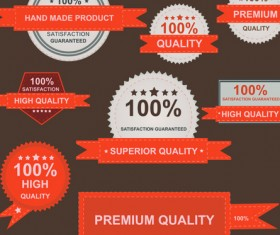 Set of guaranty quality and Premium labels vector 03