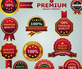 Set of guaranty quality and Premium labels vector 04
