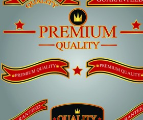 Set of guaranty quality and Premium labels vector 05