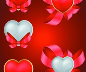 Elements Romantic Red Valentine Cards vector 03