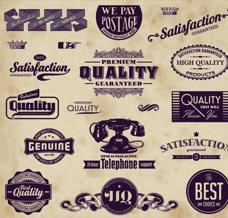 retro of creative labels design vector set free download