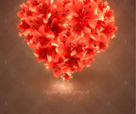 Romantic heart cards vector background set 02