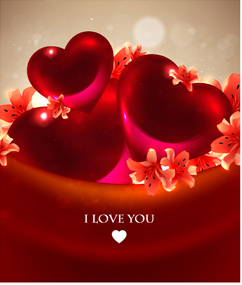 Romantic heart cards vector background set 03