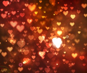 Romantic heart cards vector background set 04