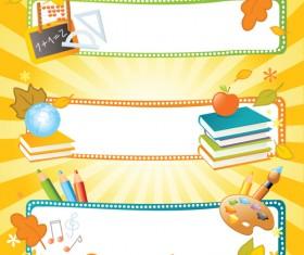 School style vector backgrounds set 01