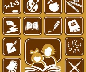 Different School Symbols mix vector 03