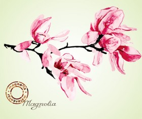Set of Magnolia invitations cover vector graphic 02