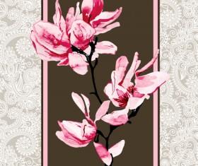 Set of Magnolia invitations cover vector graphic 03