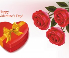 Set of Rose elements Valentine's Day Cards background vector 01