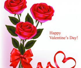 Set of Rose elements Valentine's Day Cards background vector 02
