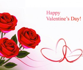 Set of Rose elements Valentine's Day Cards background vector 03
