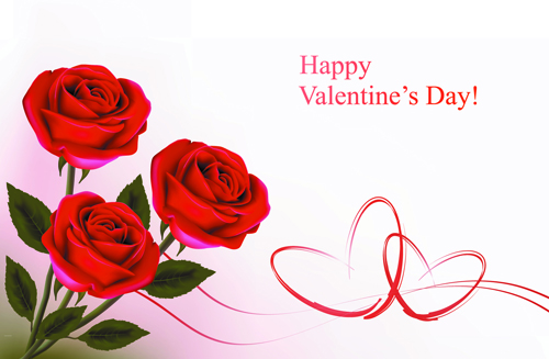 Set of Rose elements Valentines Day Cards background vector 03 – Valentines Card Photos