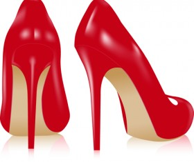 Set of Women's High-heeled shoes vector 03