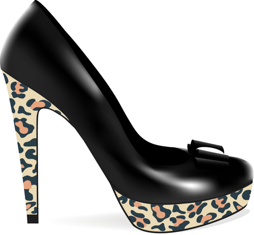 Set of Womens High heeled shoes vector 04