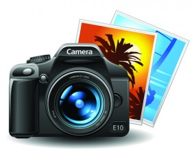 Set of different Photo Camera elements Vector 01