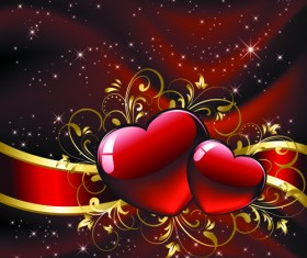 Set of luxurious Valentine Cards Vector 01