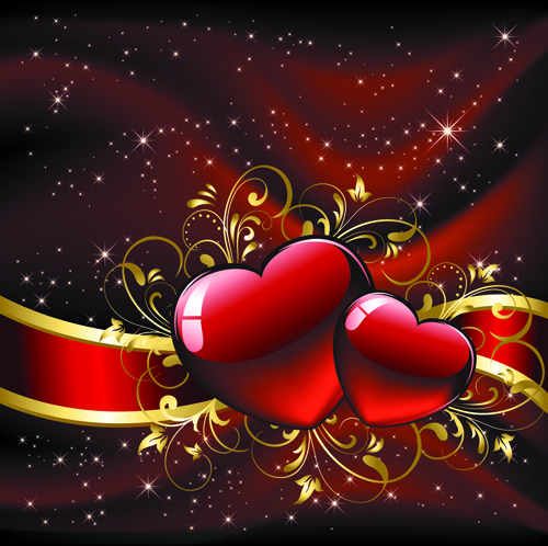 Set of luxurious Valentine Cards Vector 01 Vector Background – Valentine Card Background