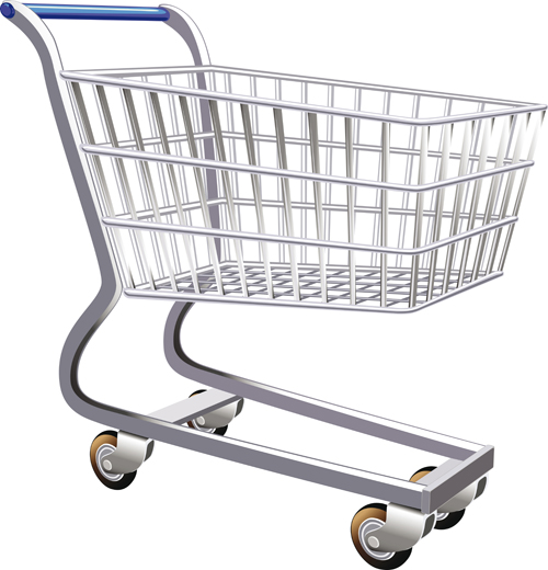 Set Of Shopping Trolley Elements Vector Graphic 02