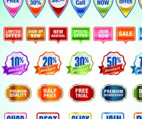 Business elements Stickers and labels vector 02