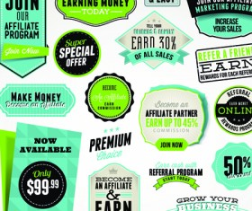 Business elements Stickers and labels vector 04