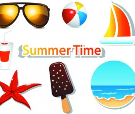 Summer Time background and Illustration vector 01