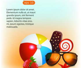 Summer Time background and Illustration vector 03