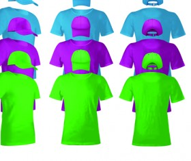 Colorful T-shirts and caps uniform vector template 01
