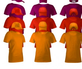 Colorful T-shirts and caps uniform vector template 02