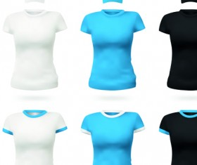 Colorful T-shirts and caps uniform vector template 05