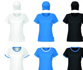 Colorful T-shirts and caps uniform vector template 06