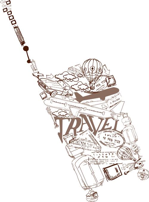 Different Travel elements vector set 04