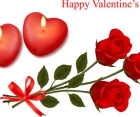 Valentine theme elements vector background set 01