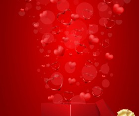 Red Style for Valentine day design vector 01