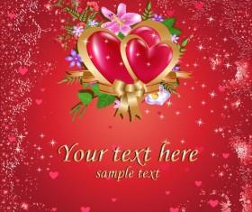 Bright Valentine day card background vector 02