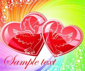 Bright Valentine day card background vector 03